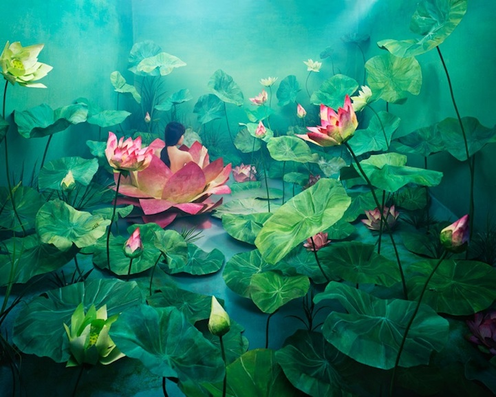 Inspired by the Story of Shim Cheong, a Korea folktale as well as by Shakespeare's Ophelia, Lee JeeYoung made this installation by painting paper lotus and flooding the room with fog and carbonic ice in order to create a mystic atmosphere.