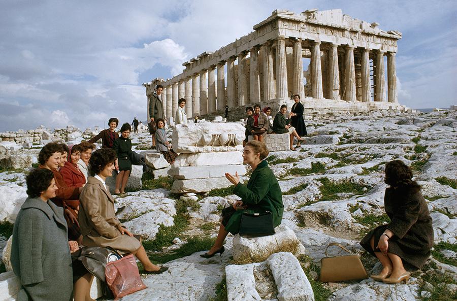Greek emigrants to Australia take a farewell tour of the Parthenon, December 1963.