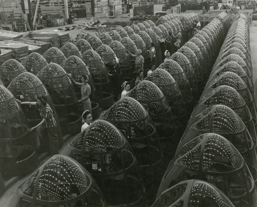 Nose assemblies for Douglas A-20 attack bombers in a factory.