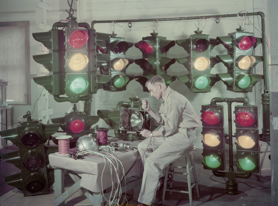 Traffic lights are made in Shreveport, Louisiana, and sent around the U.S. and abroad, December 1947.