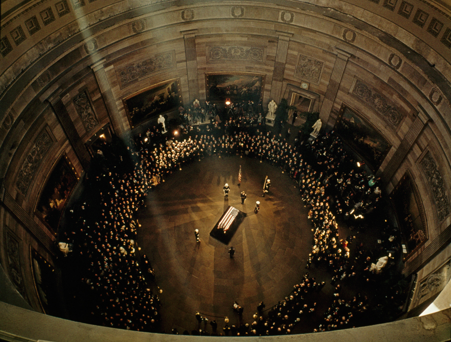 John F. Kennedy's coffin lies in state beneath the Capitol's dome, November 1963.