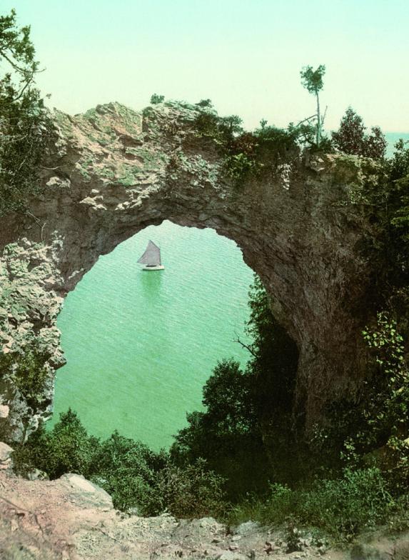 Arch Rock, Mackinac Island, Michigan, photochrom.