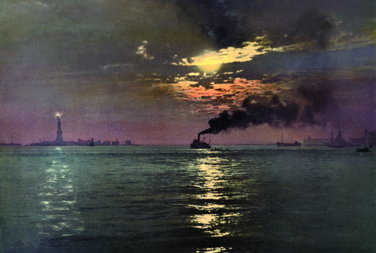Sunset from the Battery, New York, photochrom.