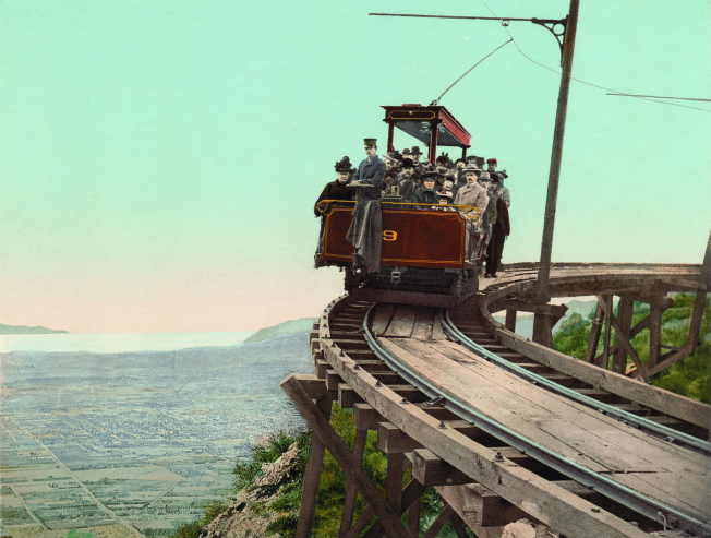 Mount Lowe Railway, on the circular bridge, California, photochrom.