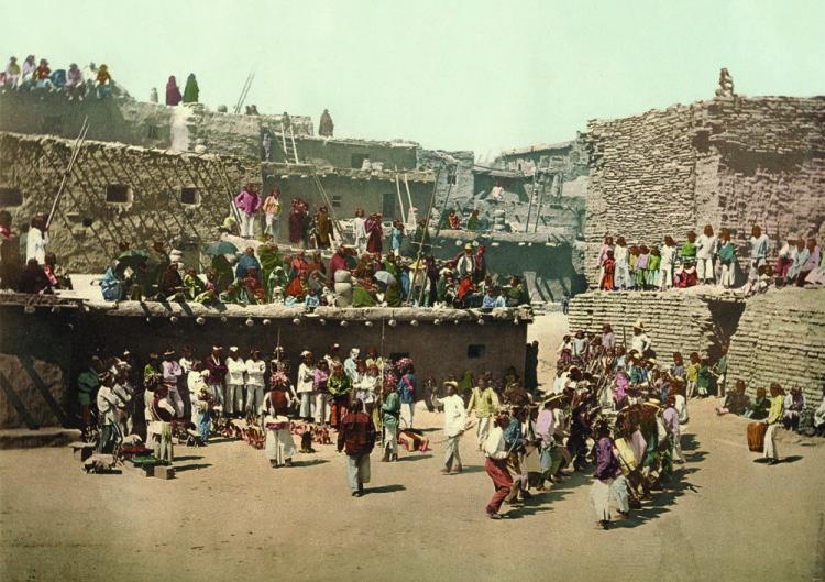 William Henry Jackson, Zuni Pueblo Indians, the Rain Dance, New Mexico, photochrom.