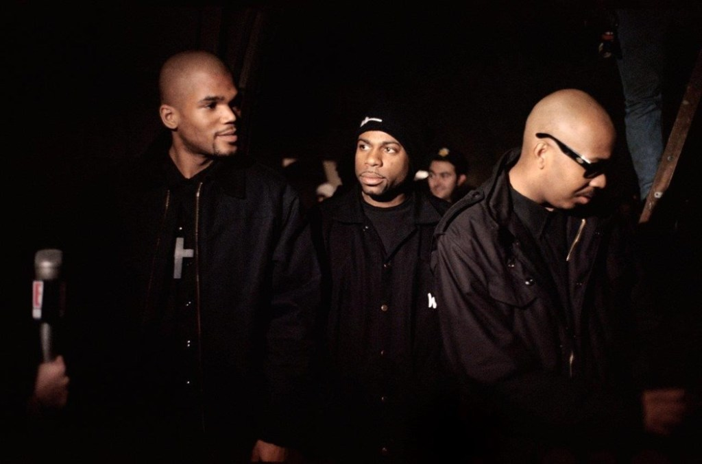 "Run-DMC on the set of the ""Down With The King"" video"